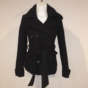 Black hooded pea coat